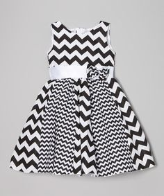 Take a look at the Kid Fashion Black & White Zigzag A-line Dress - Toddler & Girls on #zulily today!