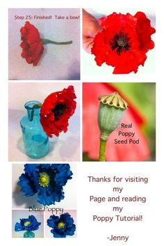 Poppy Tutorial #1: How to Make a Gum Paste Poppy (using heart shaped cutters) - CakesDecor