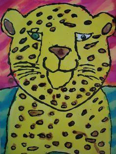 glue resist watercolour safari, grade 5,6