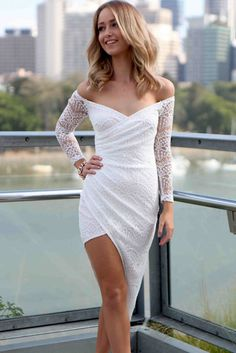 White Lace Asymmetrical Wrap Maxi Dress