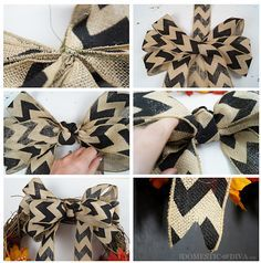 How to make a chevron burlap bow for a wreath