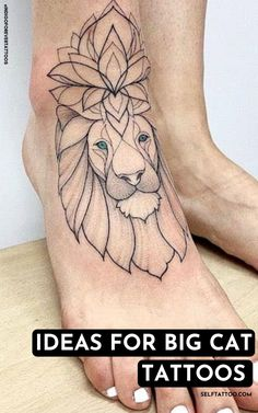 Does getting a cat or big cat tattoo appeal to you? There are many designs to find inspiration in - from regal lion tattoos to tiger tattoos and more. Click here for cat tattoo ideas and common meanings of them. Self Tattoo | Tattoo Ideas | Tattoo Designs | Mini Tattoos | Minimalist Tattoos | Tattoos | Tattoo Ideas Female | Tattoos For Guys | Lion Tattoo | Lion Tattoo For Women | Lion Tattoo Design | Cat Tattoo Designs | Tiger Tattoo Sleeve | Tiger Tattoo Men Meaningful Tattoos For Men, Unique Tattoos For Women, Small Tattoos For Guys, Father Tattoos, Parent Tattoos, Mom Tattoos, Tiger Tattoo Sleeve, Big Cat Tattoo, Animal Tattoos For Women