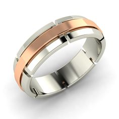 7 MM Men's Wedding Band Fine Ring in Two Tone Sterling Silver Free Sizing - Rings
