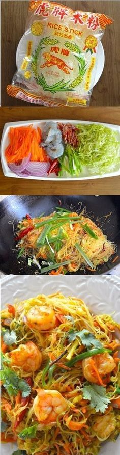 A popular dish on any Chinese take-out menu is Singapore Noodles, or Singapore Mei Fun. Singapore noodles recipe are rice noodles (mai fun) and yellow curry Seafood Recipes, Dinner Recipes, Cooking Recipes, Ramen Recipes, Dinner Ideas, Asian Recipes, Healthy Recipes, Ethnic Recipes, Indonesian Recipes