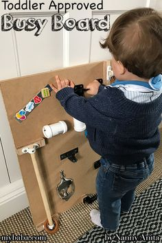 Toddler approved busy board to little hands busy and out of mischief. Things To Do Inside, Fun Things, Infant Activities, Educational Activities, Diy Busy Board, Busy Boards For Toddlers, Sensory Play, Fine Motor Skills, Grandkids