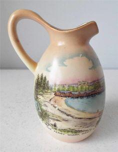 Antique WILEMAN SHELLEY CHINA Souvenir Ferry Wharf Manly NSW Australia Vase