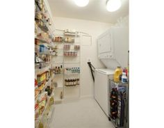 Pantry & laundry storage idea / double duty for small spaces