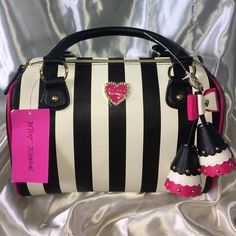"""I just discovered this while shopping on Poshmark: 💥NWT Betsey Johnson Speedy Stripe Satchel!NWT. Check it out!  Size: H- 7.5"""" X W- 12.5"""" X D-7"""", listed by alohajnd"""