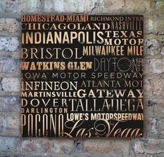 NASCAR race tracks typography orginal graphic art by geministudio, $119.00