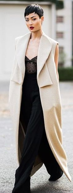 Beige Long Sleeveless Coat by Micah Gianneli