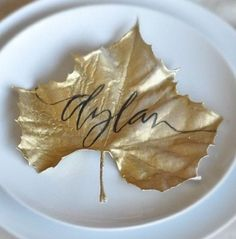 Gorgeous idea for thanksgiving name card... spray leaf gold and write name