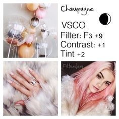 CHAMPAGNE: this is such a gorgeous filter, it looks good on mainly bright photos & would look amazing on a theme if you use a lot pink, white, oranges, silvers & golds