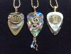 Group of Abalone Musical Guitar Pick Jewelry Designs