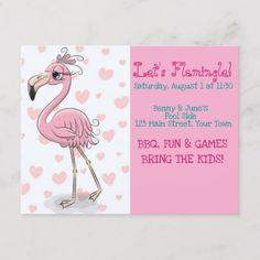 Shop Flamingo Invitation Postcard created by Florida_Girl. Pool Party Birthday Invitations, Birthday Cards, Fun Party Themes, Party Ideas, Pool Party Kids, Invitation Design, Girl Birthday, Flamingo, Bbq