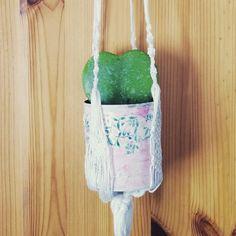 Heute nochmal eine Inspo zum Thema #herzverliebt  Das Herzblatt ist eine Wachsblumenart (Hoya kerii) und hat hier in einer kleinen Dose mit… Diy Blog, Dose, Plant Hanger, Reusable Tote Bags, Plants, Instagram, Madeleine, Homemade, Handarbeit