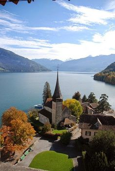 |Lake Thun Panorama From Spiez Castle, Switzerland