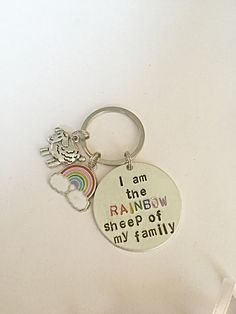 LGBT Stamped Keyring  I'm The Rainbow Sheep Of My by EmmaFleet