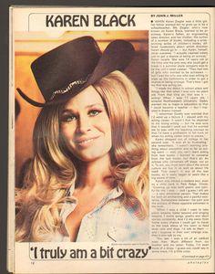 Karen Black, John Miller, Acting Career, Golden Globe Award, Independent Films, Hollywood Glamour, American Actress, Childrens Books, Cowboy Hats