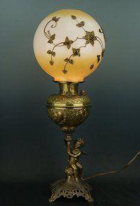 Victorian Bradley & Hubbard Blind Justice Cherub Banquet Oil Lamp