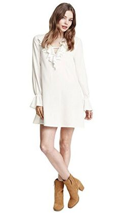 03688fc0240 Zealmer Womens V Neck Lotus Leaf Ruffle Trumpet Sleeve Casual Dress L1214  White -- Read