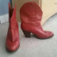 Red Boots Red leather cowboy style boots. Only worn a few times in great condition. Shoes Ankle Boots & Booties
