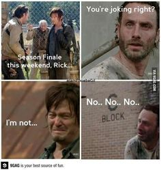 Even Rick and Daryl are sad when it's the finale!   #TWD