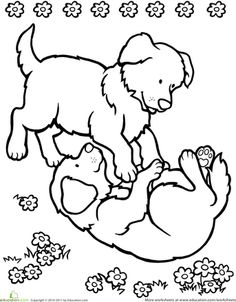 playing puppies coloring page