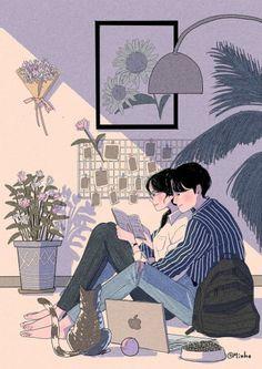 This Korean Artist Giving Serious Through His Illustration Drawing amor boy dark manga mujer fondos de pantalla hot kawaii Cute Drawings Of Love, Cute Couple Drawings, Cute Couple Art, Anime Love Couple, Art And Illustration, Art Anime, Anime Kunst, Manga Anime, Cartoon Kunst