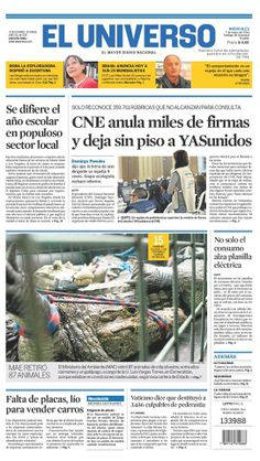 Portada de #DiarioELUNIVERSO del 7 de mayo del 2014. Las #noticias de #Ecuador y el mundo en: www.eluniverso.com