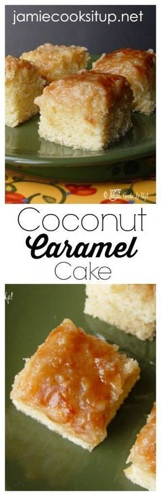 Coconut Caramel Cake from Jamie Cooks It Up! This from scratch cake is super easy and has a FABULOUS broiled coconut caramel frosting on top. It's heaven!