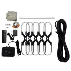Zimtown 150Miles Outdoor TV Antenna Motorized Amplified HDTV High Gain 36dB UHF VHF - Walmart.com - Walmart.com Antenna Gain, Local Tv Stations, Outdoor Tv Antenna, Schedule 40, Ham Radio Antenna, Ideal Tools, Magnetic Knife Strip, Color Box, Cool Things To Buy