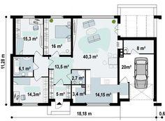 Plano de hermosa casa de 1 piso, moderna, de 3 dormitorios-2