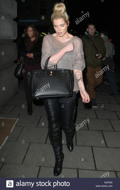 Download this stock image: Helen Flanagan arriving at Novikov restaurant wearing a see through top and black leather trousers  Featuring: Helen Flanagan Where: London, United Kingdom When: 22 Jan 2013 - E2P330 from Alamy's library of millions of high resolution stock photos, illustrations and vectors.