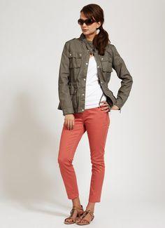 orange jeans with cargo jacket, or cargo vest