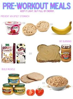 Pre-workout snack ideas for different goals.