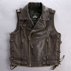 Chocolate Leather Hard Punk Rock Motorcycle Vest Waistcoat for Men SKU-116096
