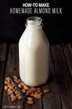 Easy Homemade Vegan Nut Milk Recipe How-to Make Vanilla Cashew Milk // Tasty Yummies Make Almond Milk, Almond Milk Recipes, Homemade Almond Milk, Raw Food Recipes, Drink Recipes, Homemade Vanilla, Organic Almond Milk, Cashew Recipes, Vitamins