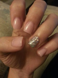 Nude pink and silver glitter.  Love it!