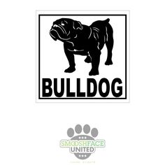 English bulldog vinyl decal car stickers - square decal with bulldog silhouette - #bullylove - Smooshface United by SmooshfaceUnited on Etsy