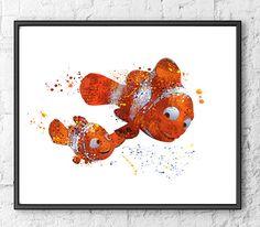 Nemo Watercolor Print, Disney Art, Pixar Art, Finding Nemo Art Print, Movie Poster, Wall Art, Home Decor, Kids Room Decor, Fine Art - 138