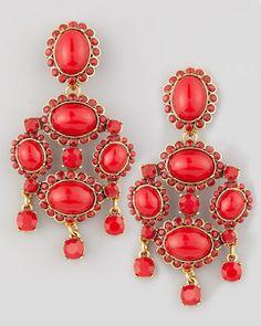 Cabochon Drop Clip Earrings, Red by Oscar de la Renta at Bergdorf Goodman.