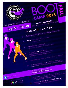 SMRD Fresh Meat Boot Camp Flier Fall 2013. Design: Southern Maryland Roller Derby