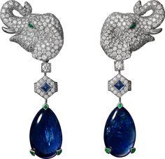 Cartier HIGH JEWELRY EARRINGS  Platinum, yellow gold, sapphires, emeralds, diamonds