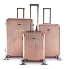 9323ace6c Gabbiano Genova Collection 3 Piece Hardside Spinner Luggage Set, Gold