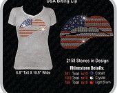 USA biting lip rhinestone design