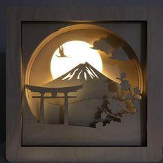 Shadow Box Kunst, Shadow Box Art, Sombra 3d, Best Night Light, Licht Box, Cut Out Art, Paper Light, Winter Home Decor, Diorama