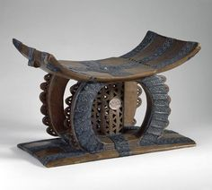 Africa | Royal stool from the Asante people of Ghana | Wood, silver repoussé | ca. 1860 | Among Ghana's Akan peoples, including the Asante, the stool symbolizes royal authority and is a personal object connected to the soul of its owner. This stool, believed to have belonged to the Asante king Kofi Kakari (18371884), was confiscated from his palace by British colonial authorities in 1873.