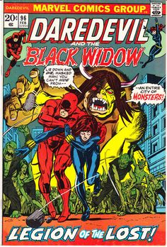 """Daredevil vol.1 # 96, """"The Widow Will Make You Pay!"""" (February, 1973). Cover by Gil Kane."""