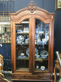 Antique Glass Door Armoire by GreyhoundAntiques on Etsy
