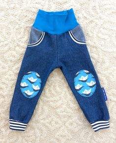 Handmade cool nautical denim pants blue boats by NoNiMadewithlove